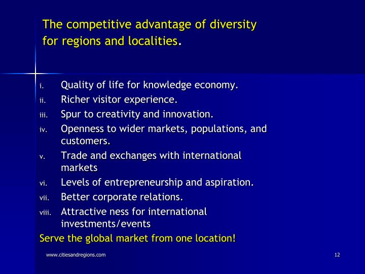 The competitive advantage of diversity for regions and localities