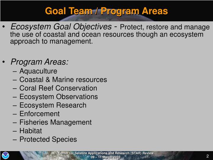 Goal Team / Program Areas