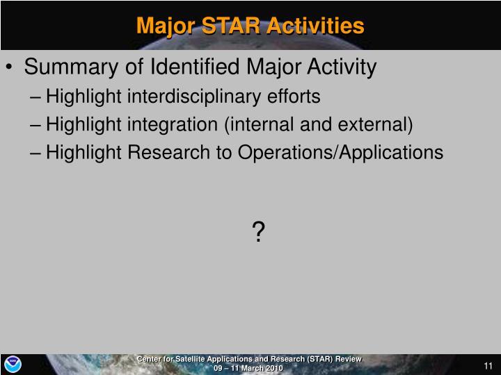 Major STAR Activities