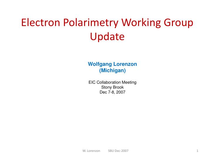 Electron polarimetry working group update