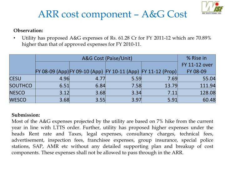 ARR cost component – A&G Cost