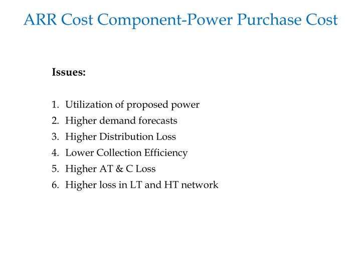 ARR Cost Component-Power Purchase Cost