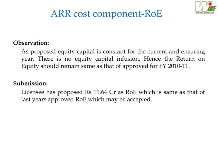 ARR cost component-RoE