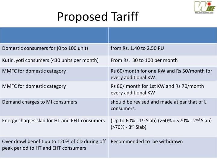 Proposed Tariff