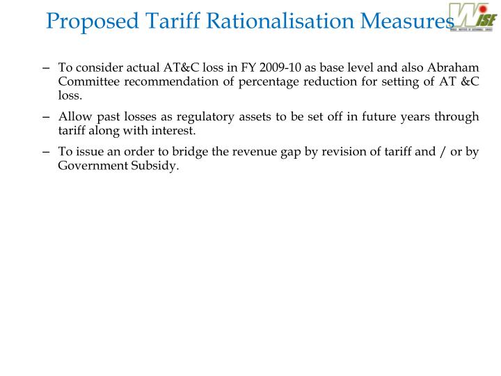 Proposed Tariff Rationalisation Measures