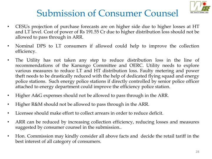 Submission of Consumer Counsel