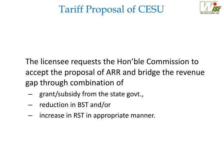 Tariff Proposal of CESU
