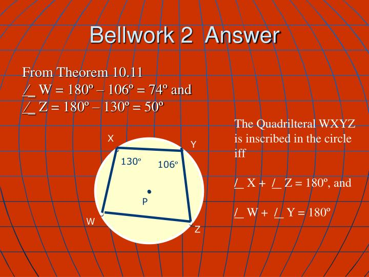 Bellwork 2  Answer