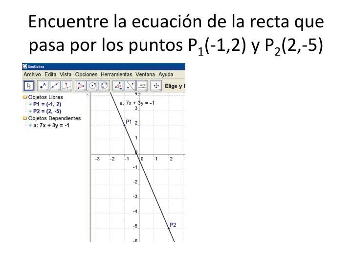 Encuentre la ecuación de la recta que pasa por los puntos P
