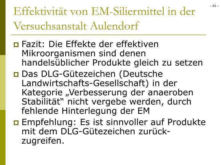 Effektivität von EM-Siliermittel in der Versuchsanstalt Aulendorf