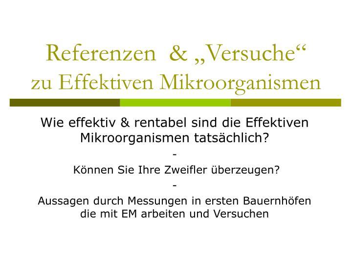 """Referenzen  & """"Versuche"""""""