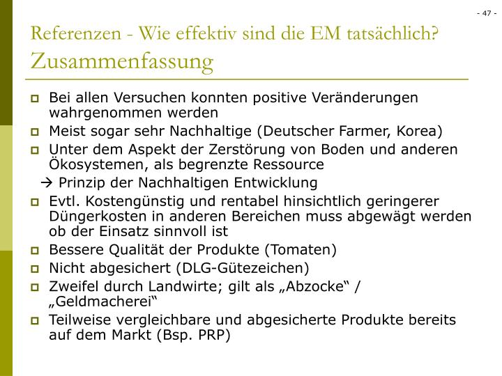Referenzen - Wie effektiv sind die EM tatsächlich?
