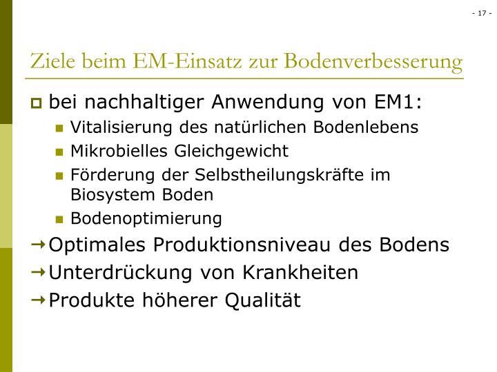 Ziele beim EM-Einsatz zur Bodenverbesserung