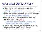 other issues with w x dep