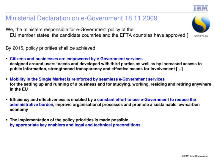 Ministerial Declaration on e-Government 18.11.2009