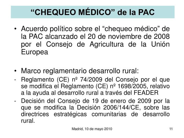 """CHEQUEO MÉDICO"" de la PAC"