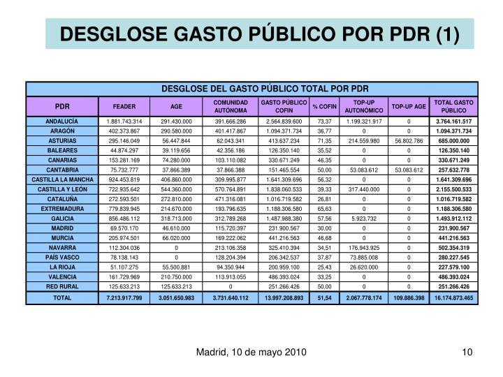DESGLOSE GASTO P