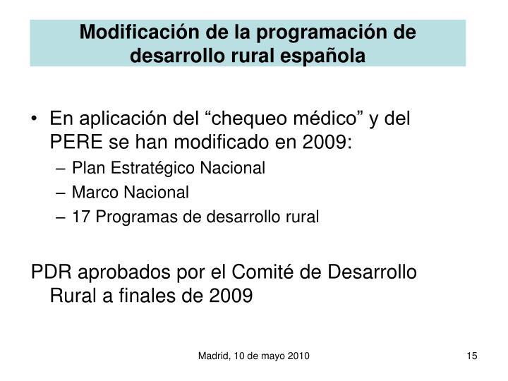 Modificación de la programación de desarrollo rural española