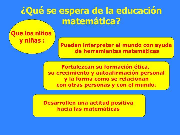 ¿Qué se espera de la educación matemática?