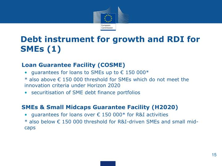 Debt instrument for growth and RDI for SMEs (1)