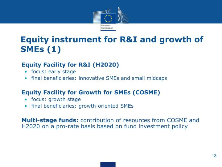 Equity instrument for R&I and growth of SMEs (1)