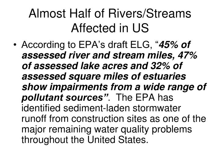 Almost half of rivers streams affected in us