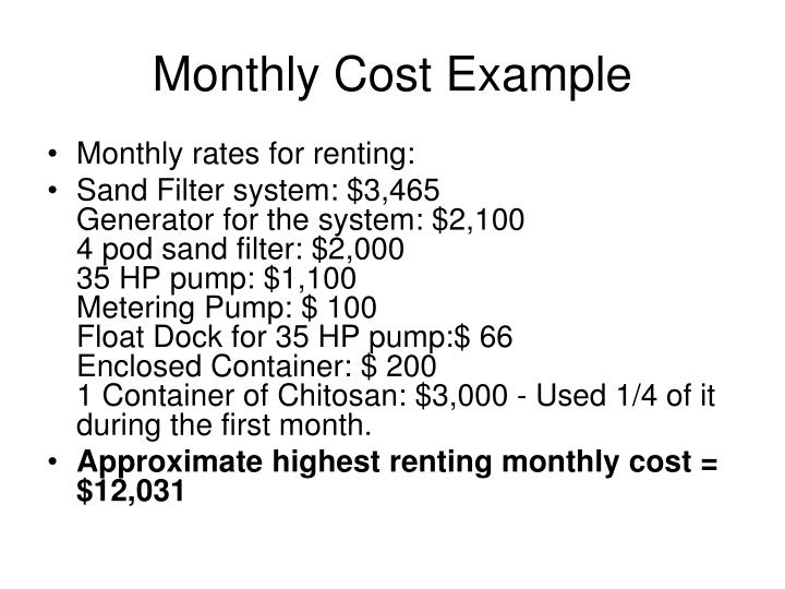 Monthly Cost Example