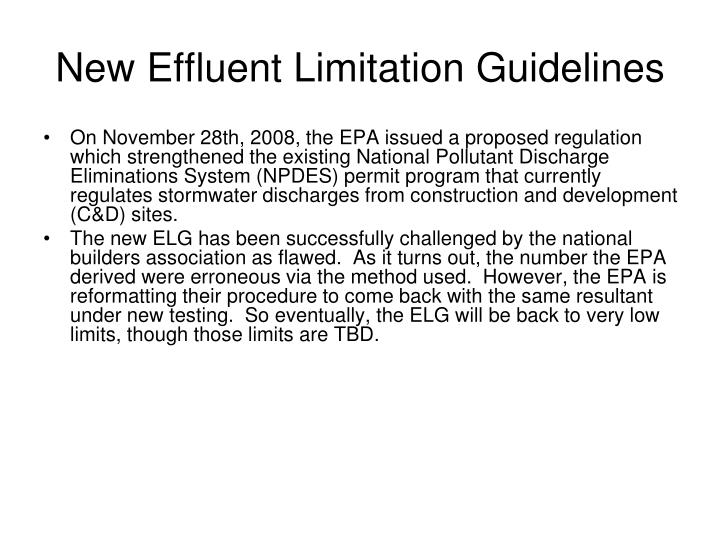 New effluent limitation guidelines