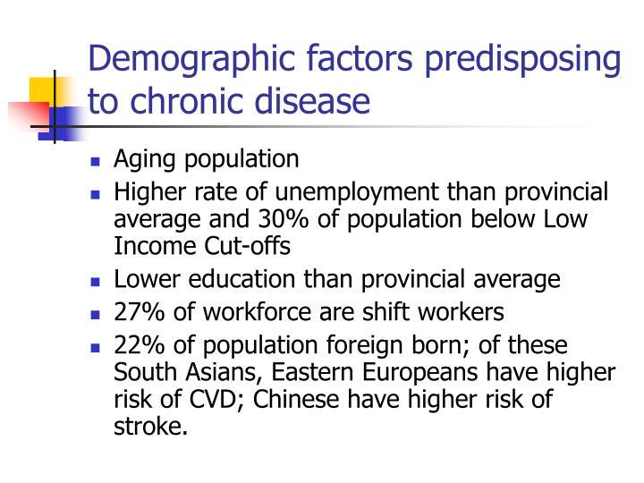 Demographic factors predisposing to chronic disease