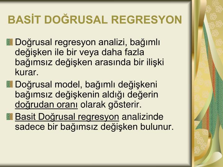 BASİT DOĞRUSAL REGRESYON