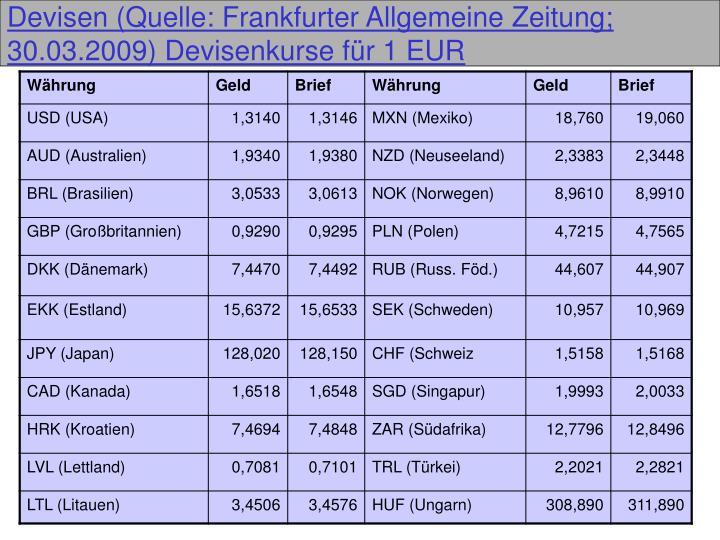 Devisen (Quelle: Frankfurter Allgemeine Zeitung; 30.03.2009) Devisenkurse für 1 EUR