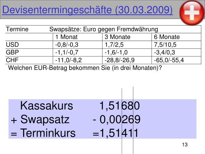 Devisentermingeschäfte (30.03.2009)