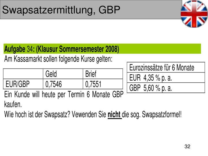 Swapsatzermittlung, GBP