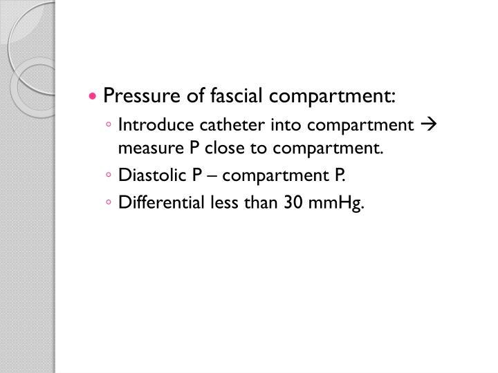 Pressure of fascial compartment: