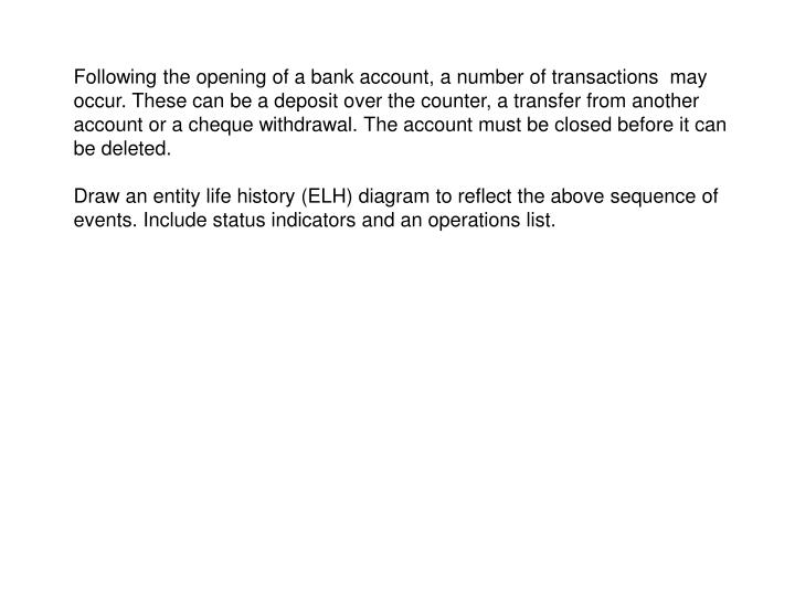 Following the opening of a bank account, a number of transactions  may occur. These can be a deposit over the counter, a transfer from another