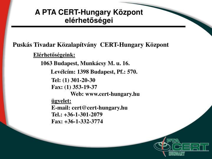 A PTA CERT-Hungary Központ elérhetőségei