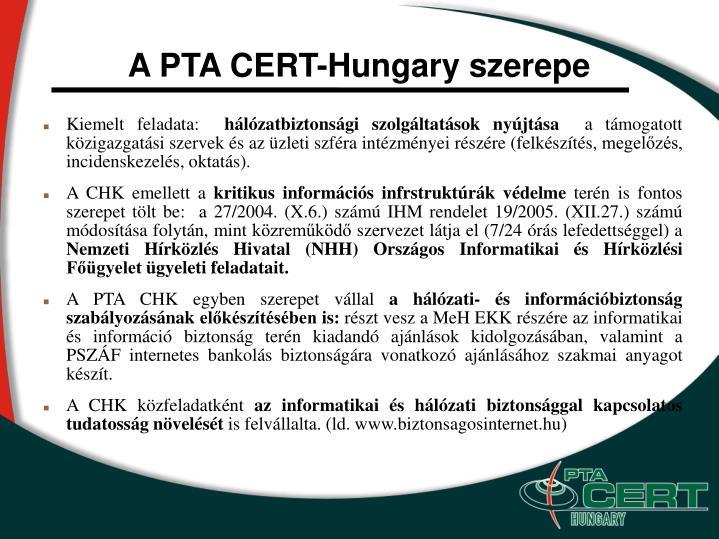 A PTA CERT-Hungary szerepe