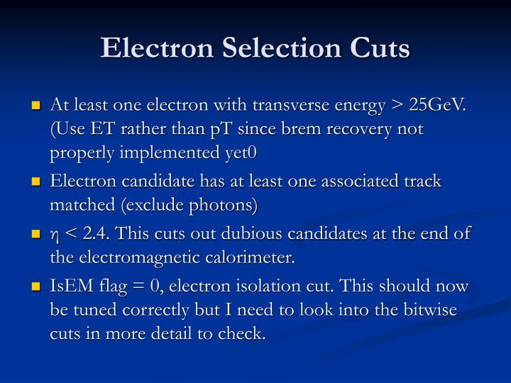 Electron Selection Cuts