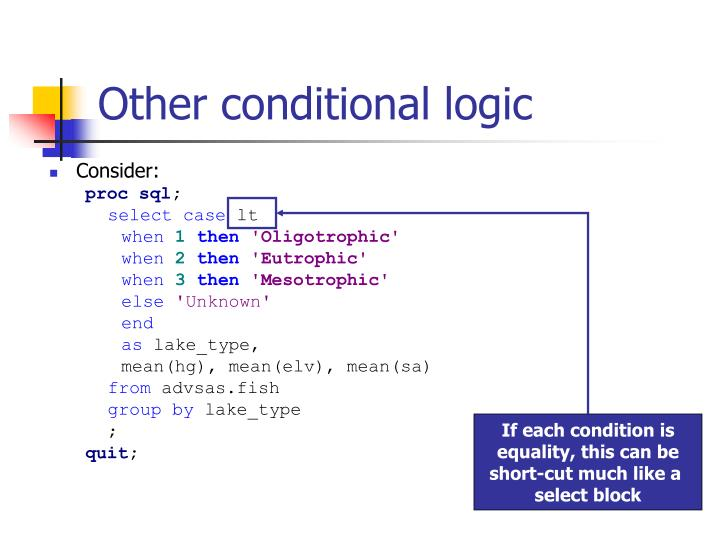 Other conditional logic