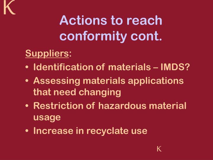 Actions to reach conformity cont.