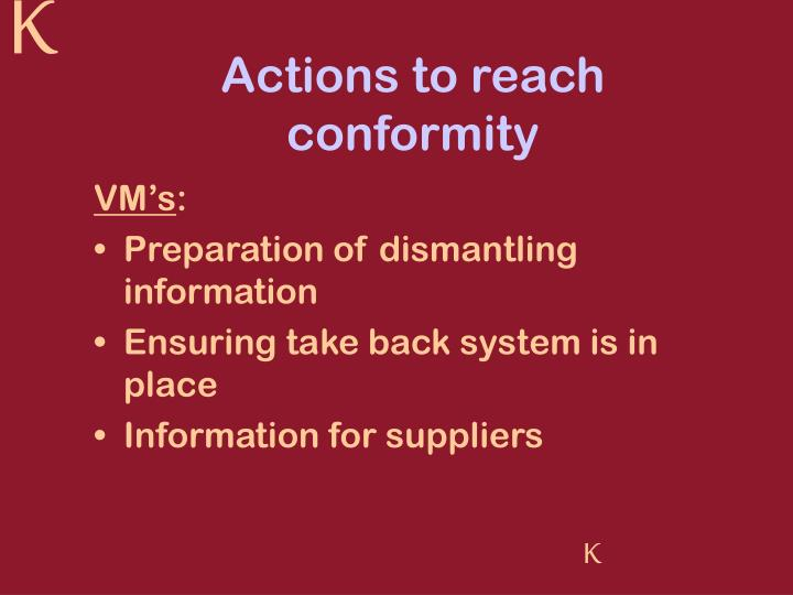 Actions to reach conformity