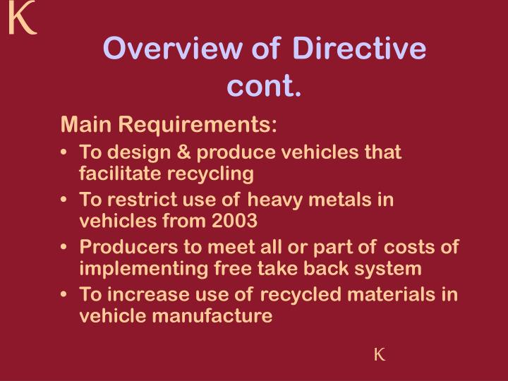 Overview of Directive cont.
