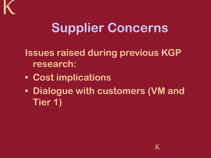 Supplier Concerns