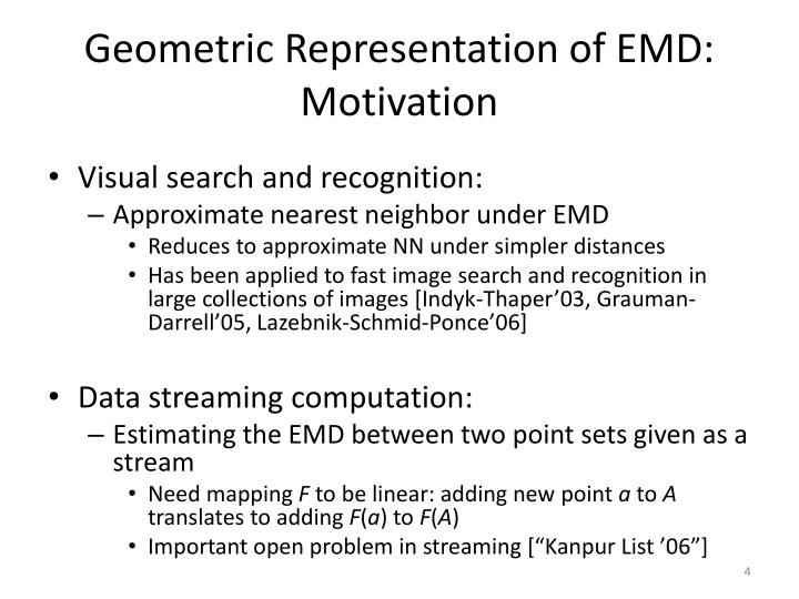 Geometric Representation of EMD: Motivation
