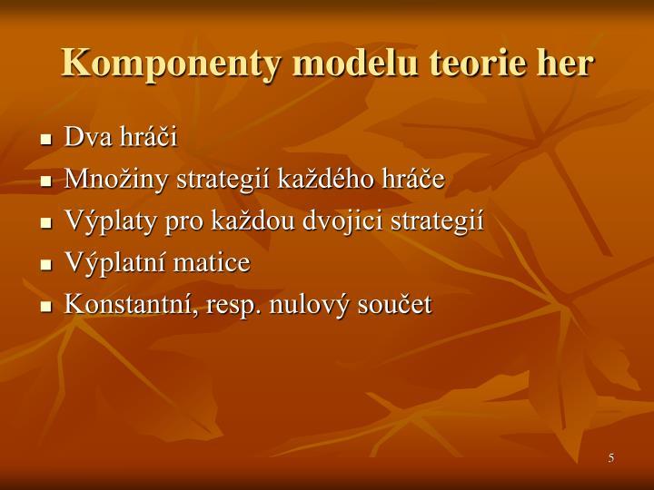Komponenty modelu teorie her