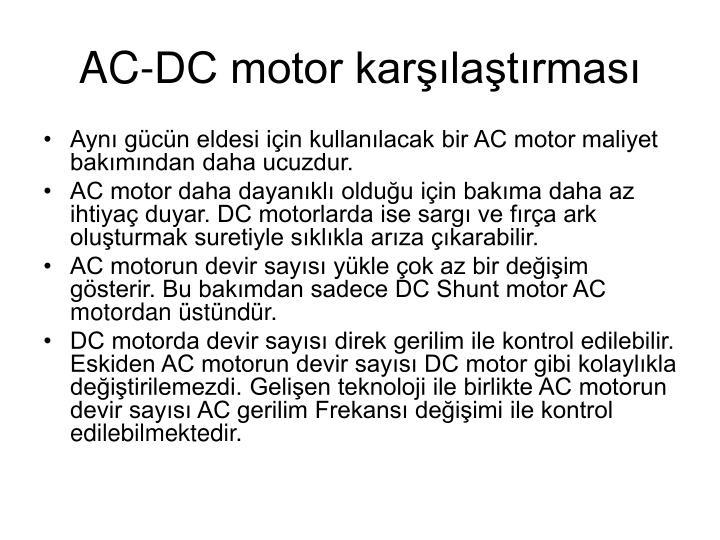 AC-DC motor karşılaştırması