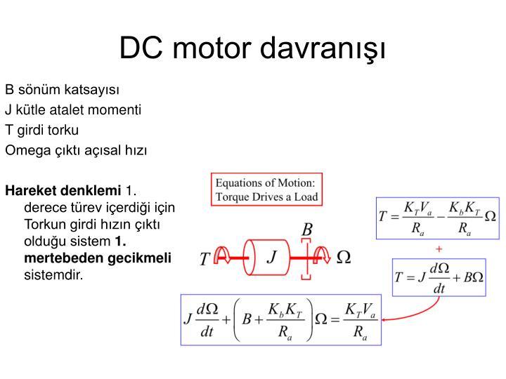 DC motor davranışı