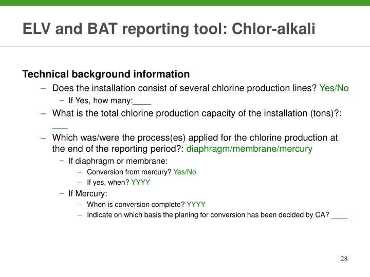 ELV and BAT reporting tool: Chlor-alkali