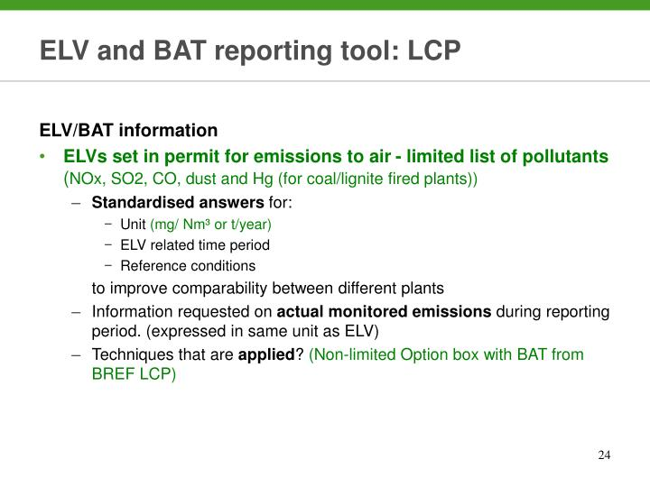 ELV and BAT reporting tool: LCP