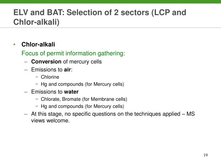 ELV and BAT: Selection of 2 sectors (LCP and Chlor-alkali)